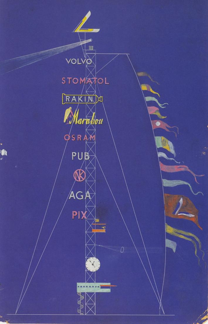 Erik Gunnar Asplund, Stockholm-exhibition, elevation of advertisment tower, 1928